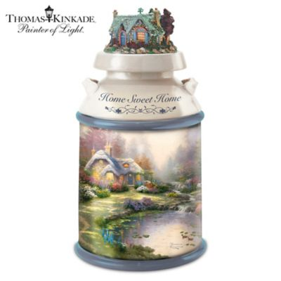 Thomas Kinkade Home Sweet Home Milk Can Style Cookie Jar by