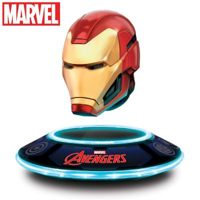Iron Man Levitating Helmet Sculpture with Lights by