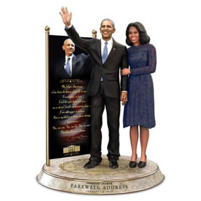 Barack And Michelle Obama Farewell Commemorative Sculpture by