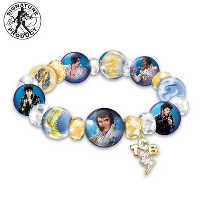 A Legend Redefined Elvis Presley Porcelain & Glass Bracelet by