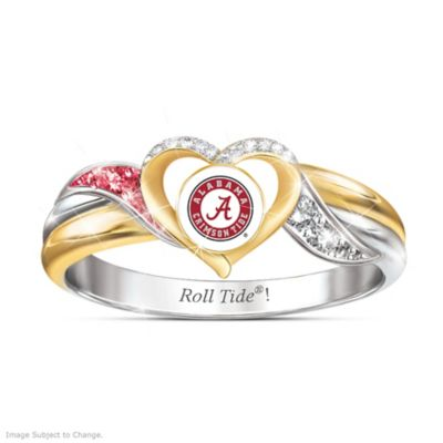 Alabama Crimson Tide Heart Ring with Team Color Crystals by