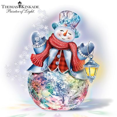 Thomas Kinkade Reflections Of Christmas Snowman Sculpture by