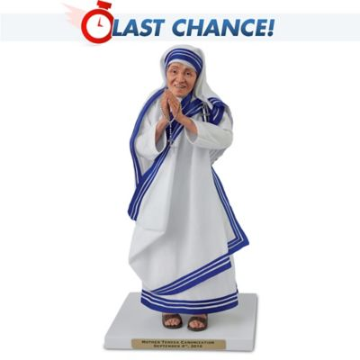 Mother Teresa Canonization Posable Sculpture Doll With Rosary by
