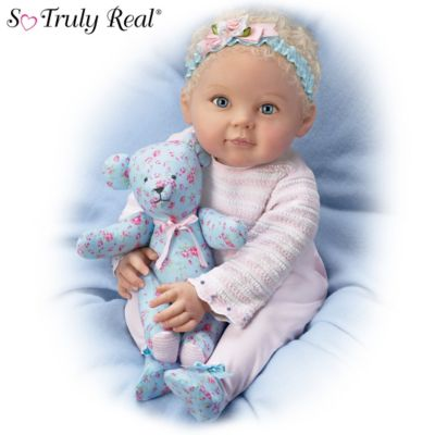 P. Lau Lauren Baby Doll With Coordinating Floral Bear by