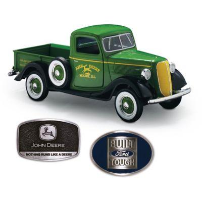 1:25-Scale John Deere Ford Diecast Truck Plus 2 Belt Buckles by