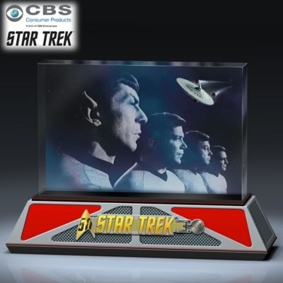 STAR TREK 50th Anniversary To Boldly Go Glass Sculpture by