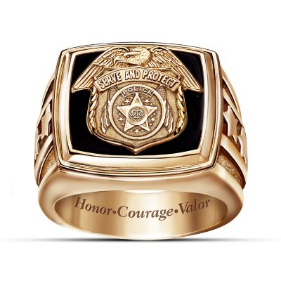 The Police Officer Engraved Black Onyx Ring by