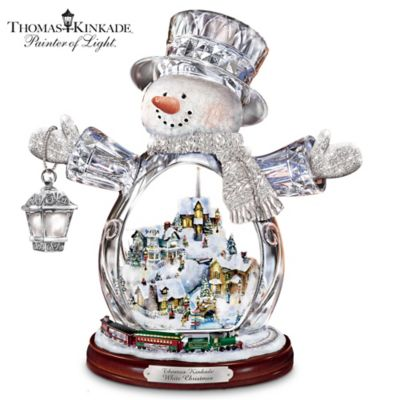 Thomas Kinkade Crystal Snowman With Village, Moving Train by