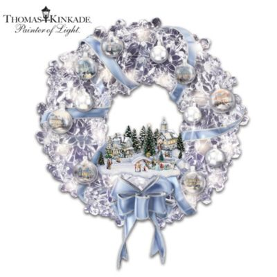 Thomas Kinkade Lighted Wreath With Ornaments, Village by