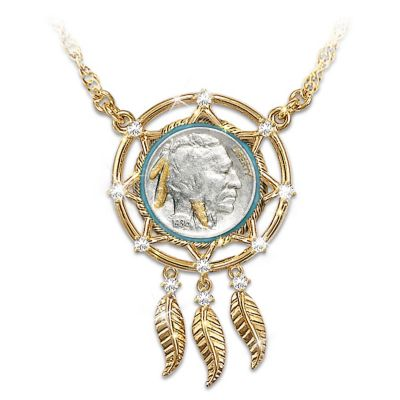 Buffalo Nickel Dreamcatcher Necklace With 24K Gold Plating by