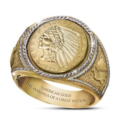 Engraved $5 Indian Head Proof Ring With 24K-Gold Plating by