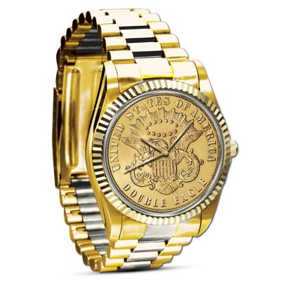 The 1849 $20 Eagle Proof Watch Plated In 24K Gold by