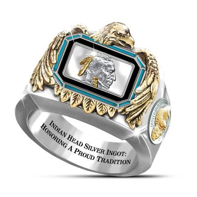Silver Indian Head Ingot Engraved Men's Ring by
