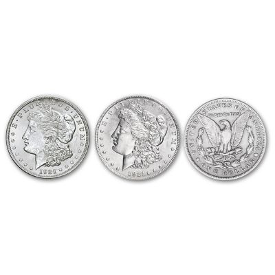 1921 Morgan Silver Dollar Reeded Edge Variety Coin Set by