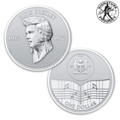 Elvis Presley 40th Anniversary One Ounce Silver Dollar Coin by