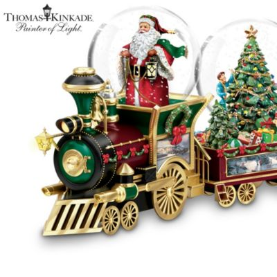 Christmas Train With Thomas Kinkade Art And Snowglobes by
