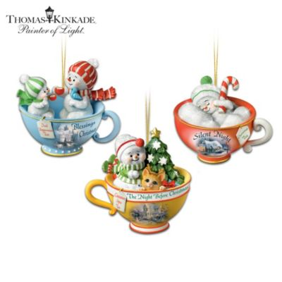 Christmas Baby Teacup Snowmen With Thomas Kinkade Artwork by