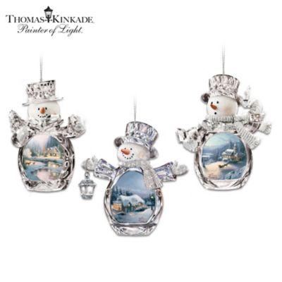 Thomas Kinkade Holiday Art Crystalline Snowman Ornaments by