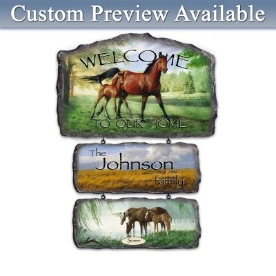 Persis Clayton Weirs Horse Art Personalized Welcome Sign by