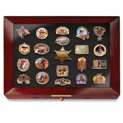 John Wayne Tribute Enameled Pin Collection With Display by