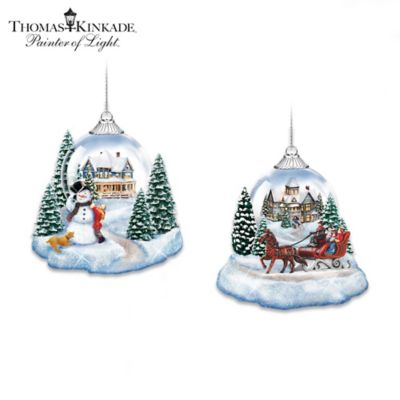 Thomas Kinkade Joy To The World Lighted Ornament Collection by