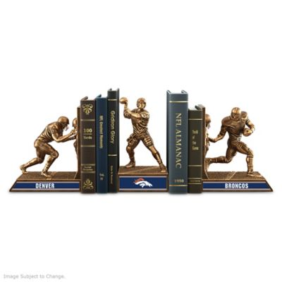 Denver Broncos Sculptural Bookends In Cold-Cast Bronze by