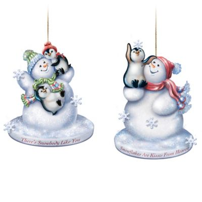 Dona Gelsinger Frosted Glass Snowman Ornaments Light Up by