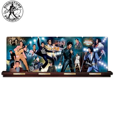 Elvis Presley Porcelain Panorama Plate Collection With Rail by
