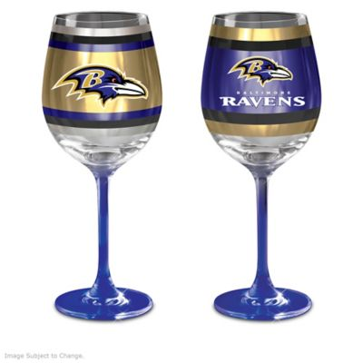 Eyeglass Frames Baltimore : NFL Baltimore Ravens Wine Glass Collection: Set Of Two ...