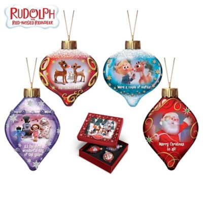 Rudolph The Red-Nosed Reindeer Lighted Glass Ornaments by