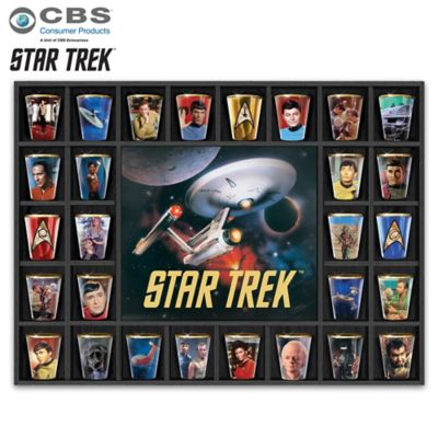STAR TREK Shot Glass Collection With Custom Display Case by