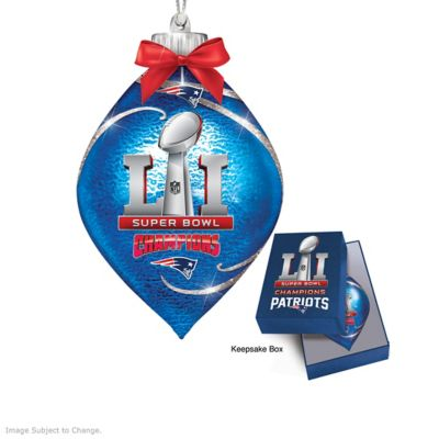 Patriots Super Bowl LI Lighted Glass Ornament Collection by