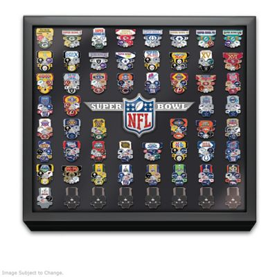 Super Bowl Pin Collection With Display & Replica Tickets by