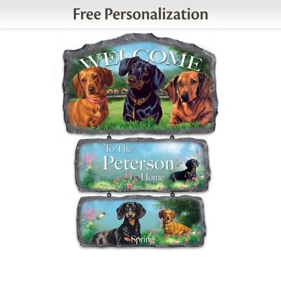 Linda Picken Dachshunds Personalized Welcome Sign Collection by