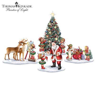 Thomas Kinkade Santa's Little Helpers Figurine Collection by