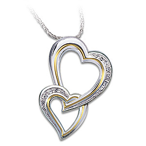 The 12-Diamond Double Heart Pendant For Daughter