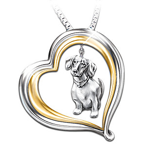 Engraved Heart-Shaped Pendant With Sculpted Dachshund Charm