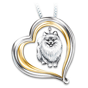 Engraved Heart-Shaped Pendant With Sculpted Pomeranian Charm