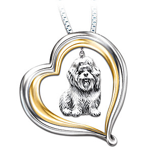 Engraved Heart-Shaped Pendant With Sculpted Shih Tzu Charm