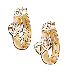 """""""Love Always"""" 6-Diamond Heart Earrings"""
