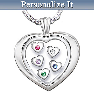 """Mother's Loving Heart"" Diamond And Birthstone Pendant"