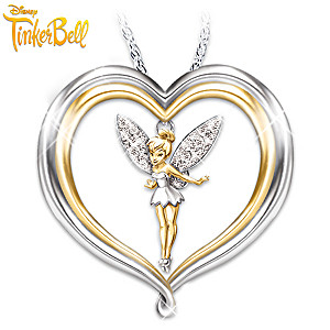 "Tinker Bell ""Believe"" Pendant Necklace With Engraving"