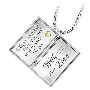 """Dear Sister"" Diamond Locket Necklace For Sisters"