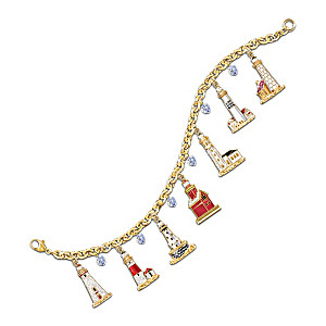 America's Great Lakes Lighthouses 7-Charm Bracelet