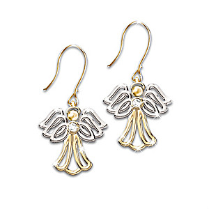 """My Dear Granddaughter"" Diamond Angel Earrings"