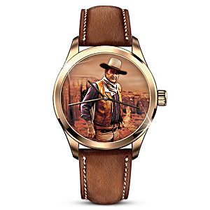 Engraved John Wayne American Legend Watch With Leather Strap