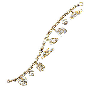 """I Love My Policeman"" Swarovski Crystal Charm Bracelet"