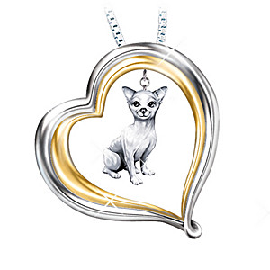 Engraved Heart-Shaped Pendant With Sculpted Chihuahua Charm