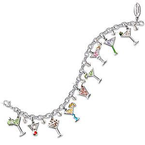 """Happy Hour"" Swarovski Crystal Martini Charm Bracelet"