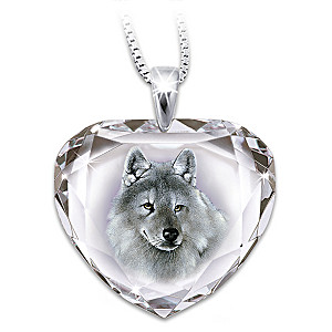 Wolf Art Cut Crystal Pendant Necklace